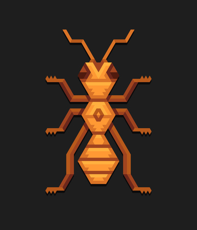 insect ant: Decorative geometric illustration of ant in tribal polygonal style.