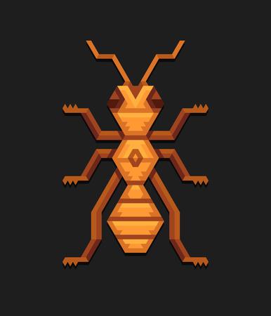 hormiga: geométrica ilustración decorativa de la hormiga en el estilo poligonal de la tribu. Vectores