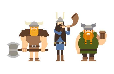medievales: Conjunto de vikingos de dibujos animados planas: musculares con el hacha, alto con el cuerno y la grasa divertido con la cerveza.