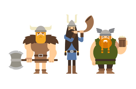viking: Set of flat cartoon vikings: muscular with axe, tall with horn and funny fat with beer.