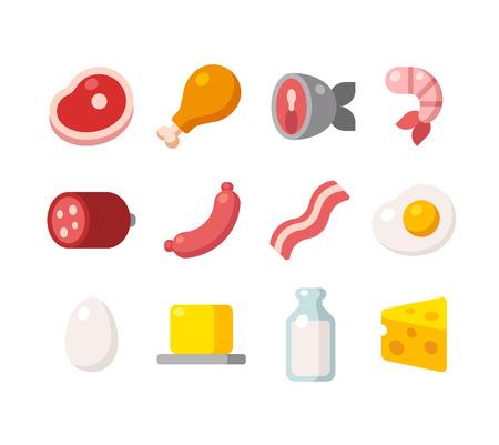 Ícones planas de carne e produtos lácteos, fontes animais de proteína.