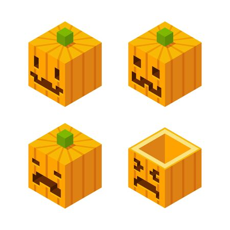 low poly: 4 Stylized cubic Halloween Jack o Lanthern carved pumpkins with pixel faces.