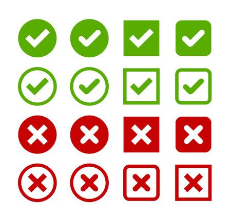 Grand ensemble de boutons plats: coches vertes et croix rouges. Cercle et le carré, coins arrondis et durs.