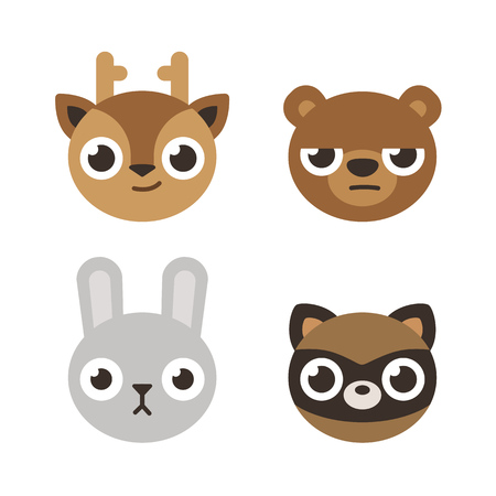 head icon: Set of 4 cute forest animal heads: deer, bear, rabbit and raccoon. Flat cartoon style.