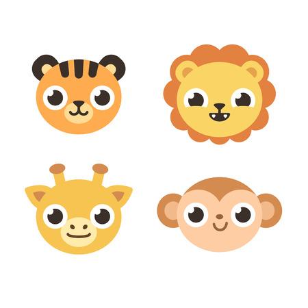 dessin enfants: Ensemble de 4 animaux de savane mignon: tigre, lion, girafe et le singe. style cartoon plat.
