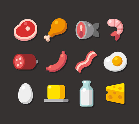 fried: Flat cartoon icons of meat, seafood and dairy products.