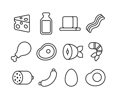 Thin line icons of meat, seafood and dairy products.