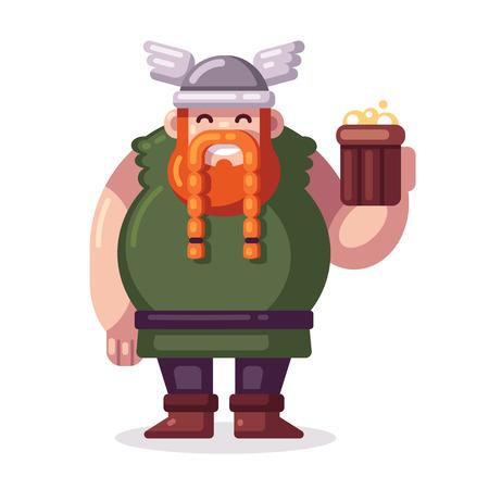 플랫 벡터 스타일에서 맥주와 함께 귀여운 뚱뚱한 만화 바이킹.