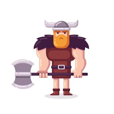 vikingo: Vikingo animados muscular con el hacha en estilo vectorial plana.