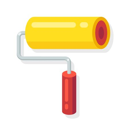 house painter: Painter roller tool icon in flat cartoon style.