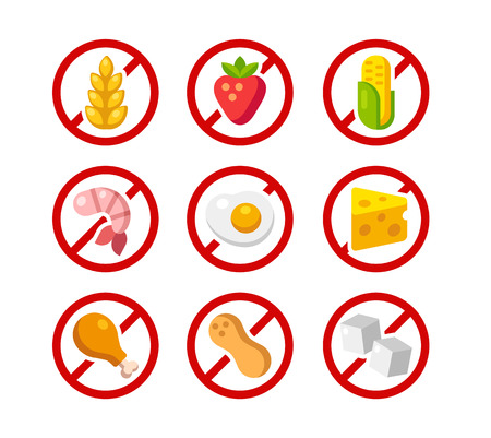 allergen: Set of ingredient warning icons with common allergens: gluten, dairy, shellfish, peanuts, eggs and more. Illustration