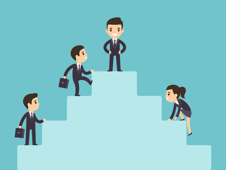 Cute cartoon business people climbing corporate ladder. Illustration of success and development. Flat vector style.
