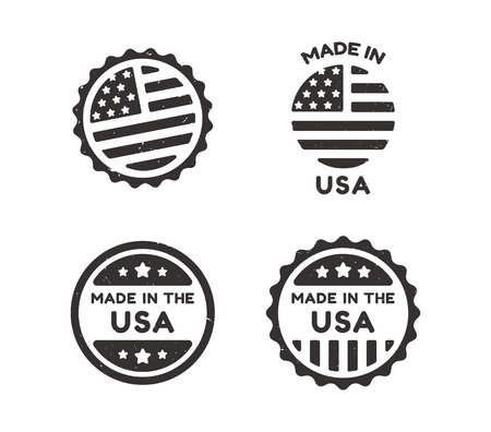 usa patriotic: Four Made in USA vintage labels with distressed texture isolated on white background.