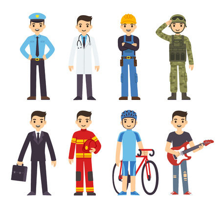 occupations: Cartoon man in costumes of 8 different professions.