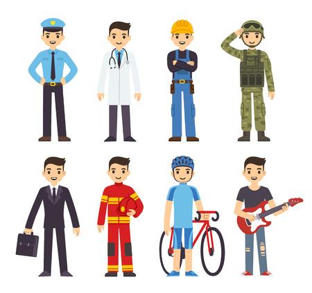 professions: Hombre de la historieta en trajes de 8 profesiones diferentes. Vectores