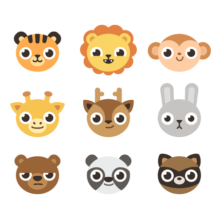 Set of 9 cute cartoon zoo animal heads with different expressioons.