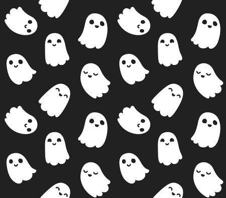 黒い背景に愛らしい漫画幽霊のシームレスなパターン。
