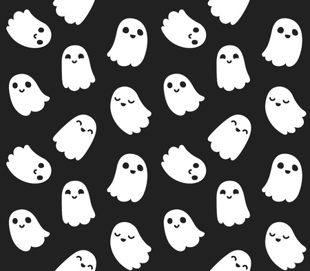 Naadloos patroon van schattige cartoon geesten op een zwarte achtergrond. Stock Illustratie