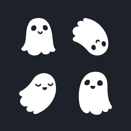 Conjunto de cuatro fantasmas adorables de la historieta con diferentes expresiones faciales.