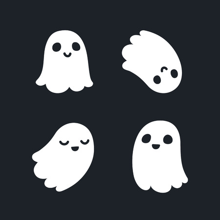 ghost character: Set of four adorable cartoon ghosts with different facial expressions. Illustration