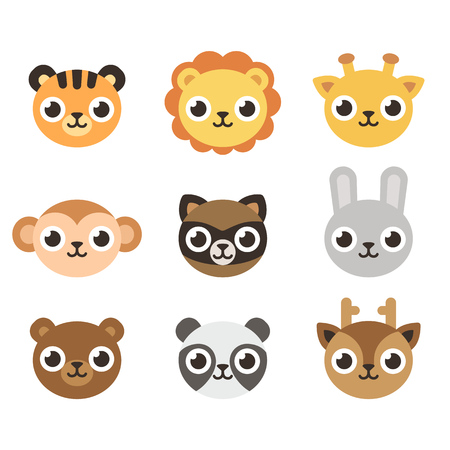 animal heads: Set of 9 cute cartoon animal heads in simple flat style.