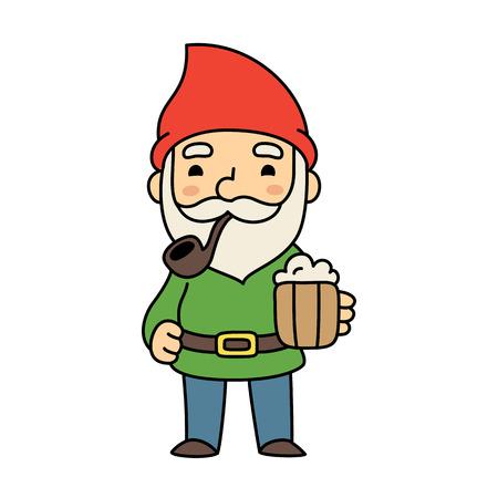 illustratie van een schattige oude cartoon gnome rokende pijp en het houden van bier.