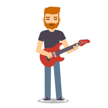 indie: Young man with beard playing electric guitar.  Indie rock guitarist in flat cartoon style.