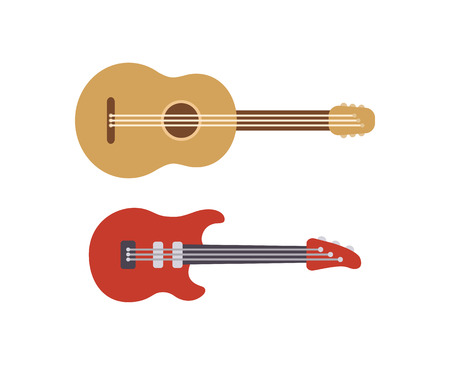 Two flat stylized guitars: classic acoustic and modern electric. Simple cartoon vector illustration of musical instruments.