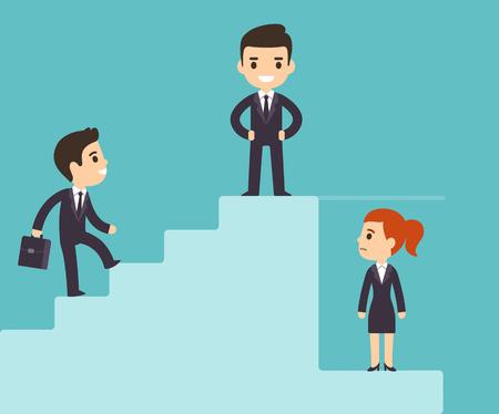 漫画ビジネスの男性が女性のガラスの天井の下で企業のはしごを登るします。職場の性差別問題。フラット ベクトル スタイル。