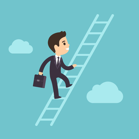 corporate ladder: Cute cartoon businessman climbing corporate ladder in sky with clouds. Illustration of success and development concept. Flat vector style.