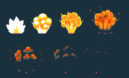 Cartoon explosion animation frames for game. Sprite sheet on dark background.