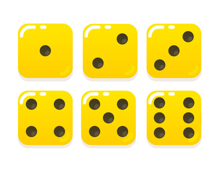 six: Cartoon yellow dice in modern flat vector style. Six states.