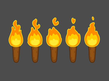 llamas de fuego: Animaci�n de la llama de la historieta por juego. Cinco marcos de la quema de antorcha. Corto, pero perfecto bucle. Vectores
