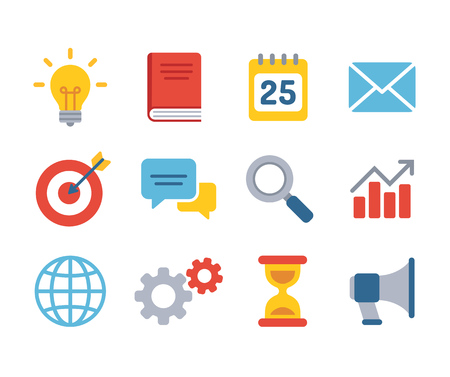business symbols metaphors: Set of business icons. Simple and modern flat vector style. Business symbols and metaphors.