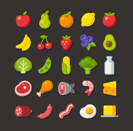 carnes y verduras: Amplio conjunto de iconos de colores de alimentos: frutas, verduras, carnes y productos lácteos. Estilo vector plana simple. Vectores
