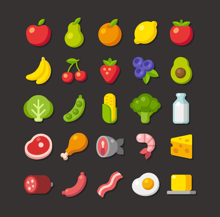 Large set of colorful food icons: fruits, vegetables, meats and dairy. Simple flat vector style.