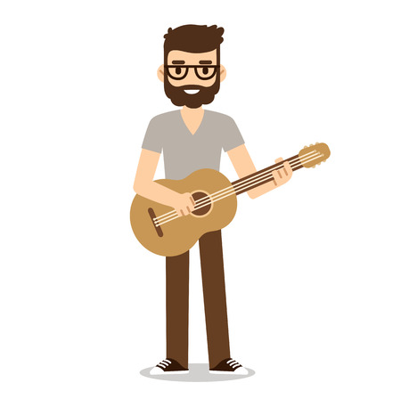 Hipster musician with beard and glasses playing acoustic guitar.  Indie music guitarist in cute flat cartoon style.