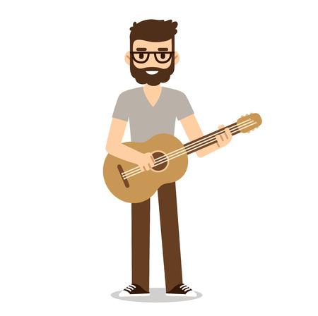 indie: M�sico inconformista con barba y gafas tocando la guitarra ac�stica. Guitarrista de la m�sica Indie en el estilo de dibujos animados lindo plana.