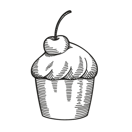 cross hatching: Hand drawn vintage cupcake with cherry, drawing imitating pencil or ink sketch. Illustration isolated on white.