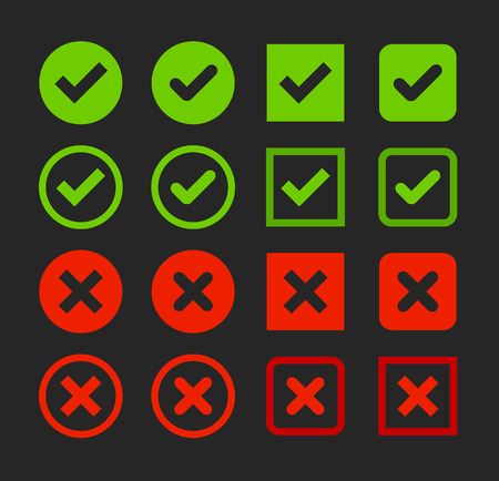x marks: Set of web buttons: green check marks and red crosses with shape variants. Confirm and cancel icons.