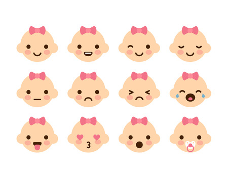 but: Set of 12 cute baby emoticons. Very simple but expressive cartoon baby girl faces with pink bows. Modern flat vector style. Illustration