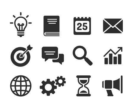 time: Set of business icons. Simple and clean modern vector style. Business symbols and metaphors. Illustration