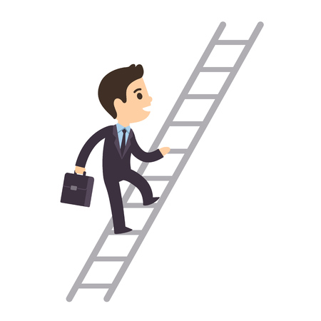 future success: Cute cartoon businessman climbing corporate ladder isolated on white background. Illustration of promotion and success. Flat vector style.