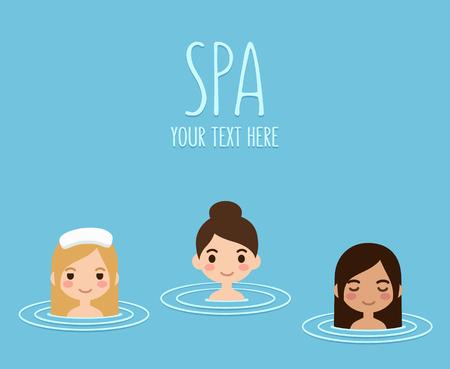 hot asian: Три красивые девушки, принимающие ванну в горячих источниках. Спа и отдых. Простой плоский мультяшном стиле.