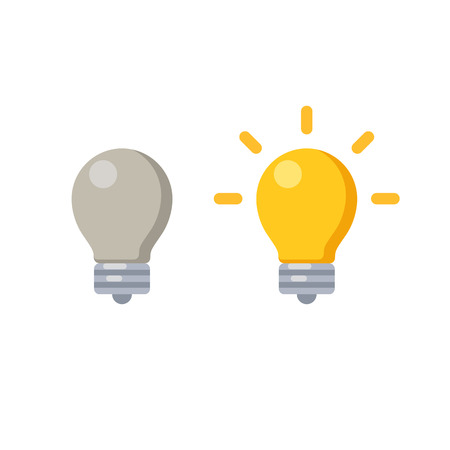 Lightbulb icon, lit and off, symbol of new ideas and lack of creativity. Vector illustration in minimalistic flat style. Vettoriali