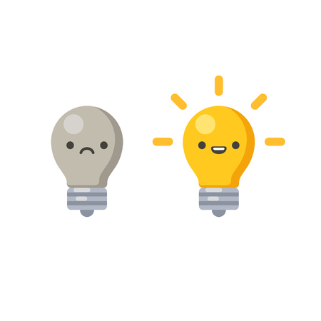 Lightbulb wth cute cartoon face, lit and off, symbolizing creative process. Vector illustration in simple flat style. Vectores