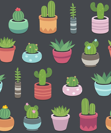 potted plant cactus: Seamless pattern of hand drawn cacti and succulents in cute pots on dark background. Simple cartoon vector style.
