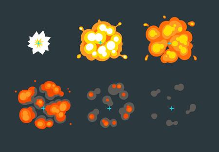 Animace pro hry, karikatura výbuch ve vzduchu. 6 rám sprite list na tmavém pozadí. Ilustrace