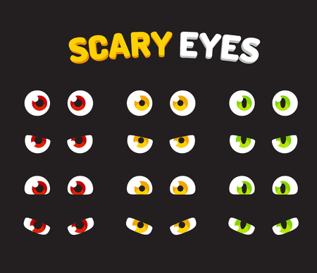 devilish: Set of scary eyes for Halloween to use as stickers or design elements. Illustration