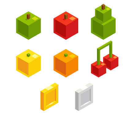 8 bit: Isometric 8 bit pixel art fruits and coins for video game. Cute stylized bonus objects for puzzle or arcade game. Vector videogame assets.